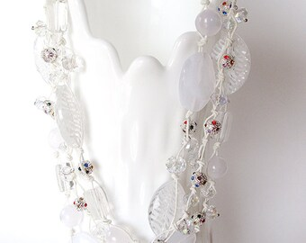 White necklace, chunky, shine, sparkle, multi-strand, clear, crystal, silver, necklaces