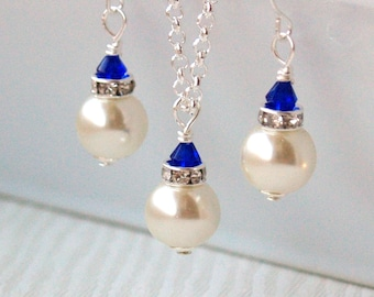 Set Of 6 Necklaces Earrings Bridesmaid Gift 6 Jewelry Sets 6 Ivory Swarvski Pearl Jewelry Sets Royal Blue Crystal Beads Bridesmaids Jewelry