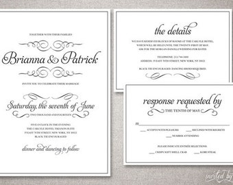 "Romantic Calligraphy ""Bianca"" Wedding Invitation Suite - Traditional Classic Script Invitations - DIY Digital Printable or Printed Invite"