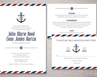 "Nautical ""Julia"" Wedding Invitation Suite - Anchor Sailing Destination Invitations - Personalized DIY Digital Printable or Printed Invite"