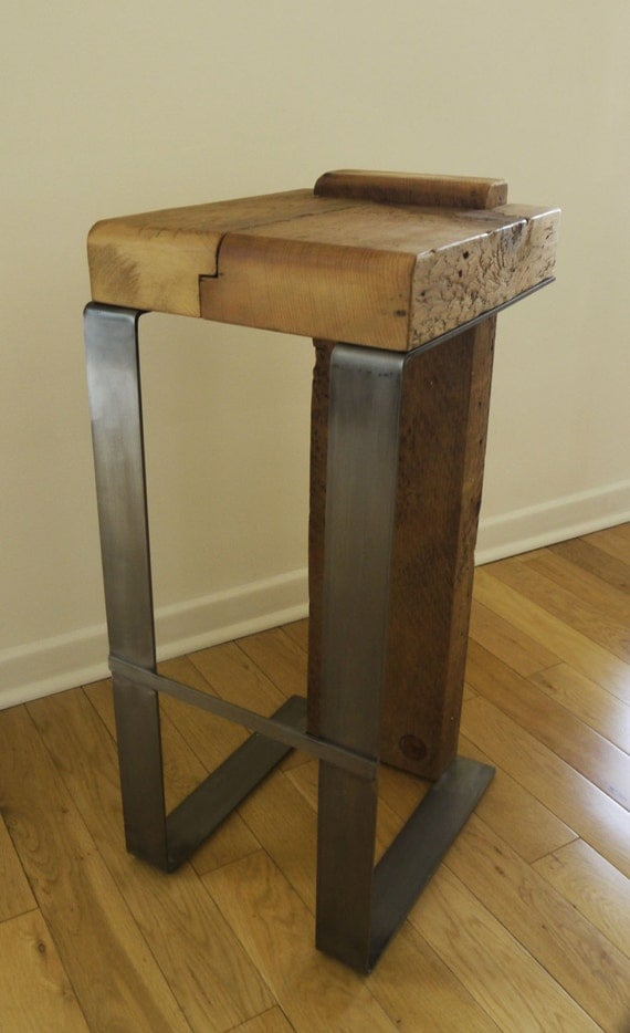 Reclaimed Wood And Metal Bar Stool Industrial Bar Stool