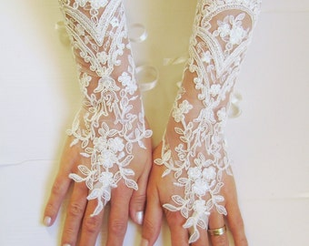 Long Ivory Wedding gloves bridal gloves lace gloves fingerless gloves ivory gloves french lace gloves free ship 0006