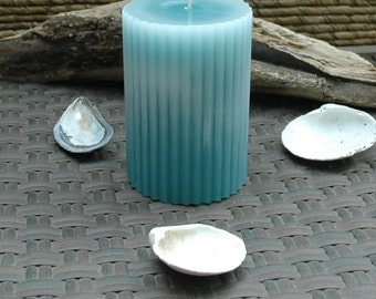 Teal Fluted Pillar Candle - 3 x 4.5