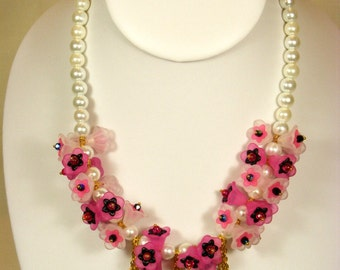 Flower Cluster and Pearl Necklace