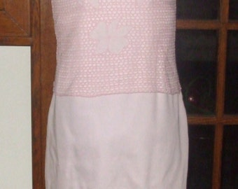 ON SALE - Vintage 1980s Pretty Pink Dress w/Net Over Top - Spring