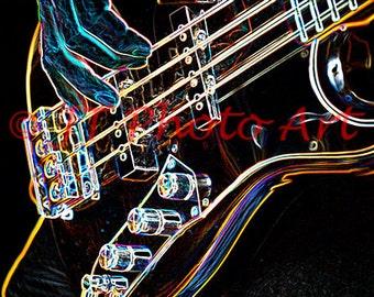 Electric Bass Guitar, 8x12 fine art print