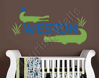 Alligator Wall Decal - Personalized Vinyl Name Decal for Baby Boy Nursery Decor Boys Room or Childrens Playroom Wall Art 15Hx28W BN023