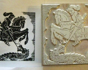 "Bookplate ""Knight Slaying Dragon"" Letterpress Printing Block, Letterpress Blocks, Print Blocks - Mounted Letterpress Block - Magnesium Plate"