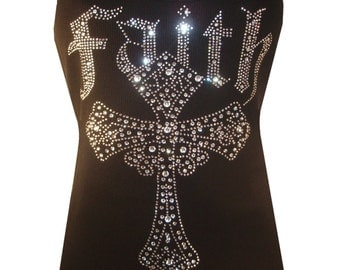 Rhinestone crystal Faith CROSS Tank tops Shirt Blacks Size:S, To 3XL plus size  Free Shipping Bling
