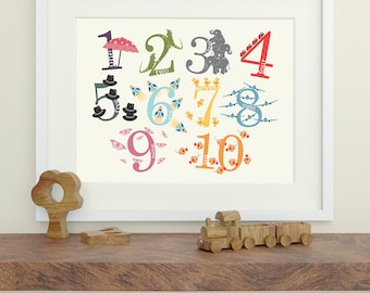 Number Print with Decorative Characters - Nursery Art, Nursery Decor
