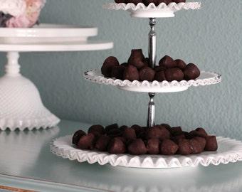 3-Tier Cake Stand Milk Glass / Tiered Cupcake Stand / Truffle Tray / Vintage Wedding Dessert Buffet / Wedding Centerpiece / Dessert Pedestal