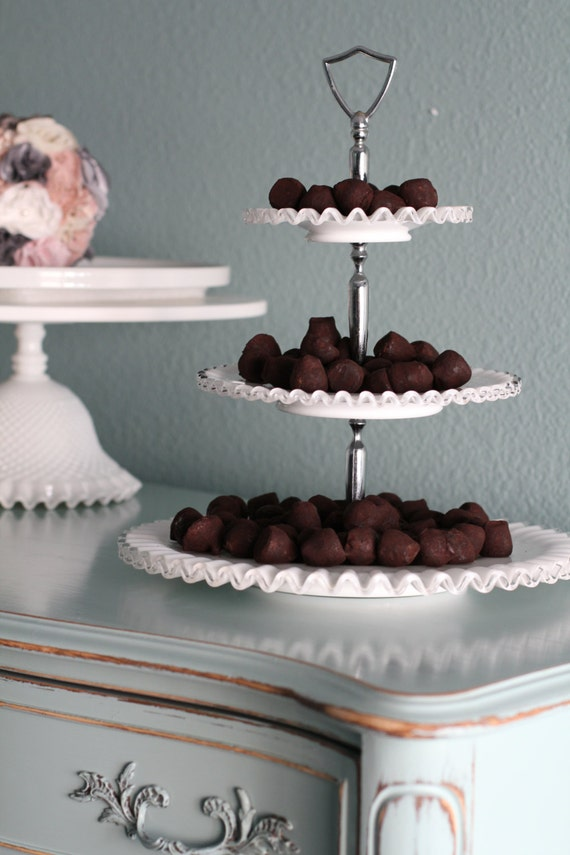 Items Similar To 3 Tier Cake Stand Milk Glass Tiered