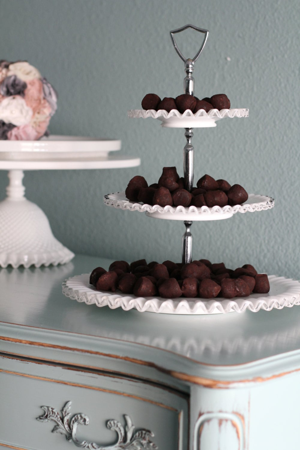 3 tier cake stand milk glass tiered by rochestudiovintage. Black Bedroom Furniture Sets. Home Design Ideas