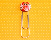 jumbo Paper Clip Bookmark - LITTLE RED RIDING hood - kawaii fabric button Paperclip Holder / kids Party Favors / unique Teacher Gifts