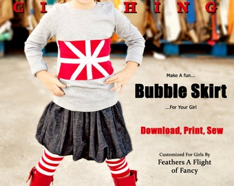 Pixie Faire Liberty Jane Girls Bubble Skirt Pattern - PDF