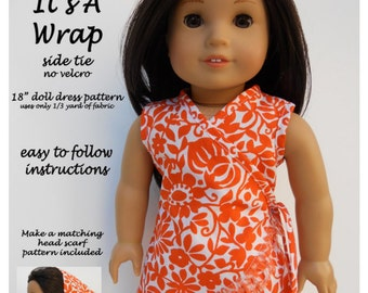Pixie Faire Ardently Admire Its A Wrap Dress Doll Clothes Pattern for 18 inch AG Dolls - PDF