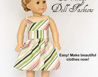 Pixie Faire Heritage The Wrap Top Dress Doll Clothes Pattern for 18 inch American Girl Dolls - PDF