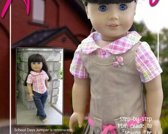 Pixie Faire Artistic Amy School Days Jumper and Blouse Doll Clothes Pattern for 18 inch AG Dolls - PDF