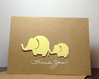 Baby Shower Thank You Note Card Set Yellow, Gender Neutral Elephant Thank You Cards, Yellow Elephant Thank You Cards, Baby Shower