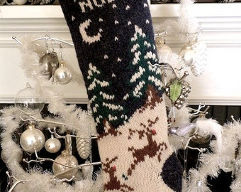 Knit Christmas Stocking Patterns, Vintage Christmas Stocking Pattern, Reindeer Snow Pine Trees, Knitting Pattern, Holiday Knit Pattern