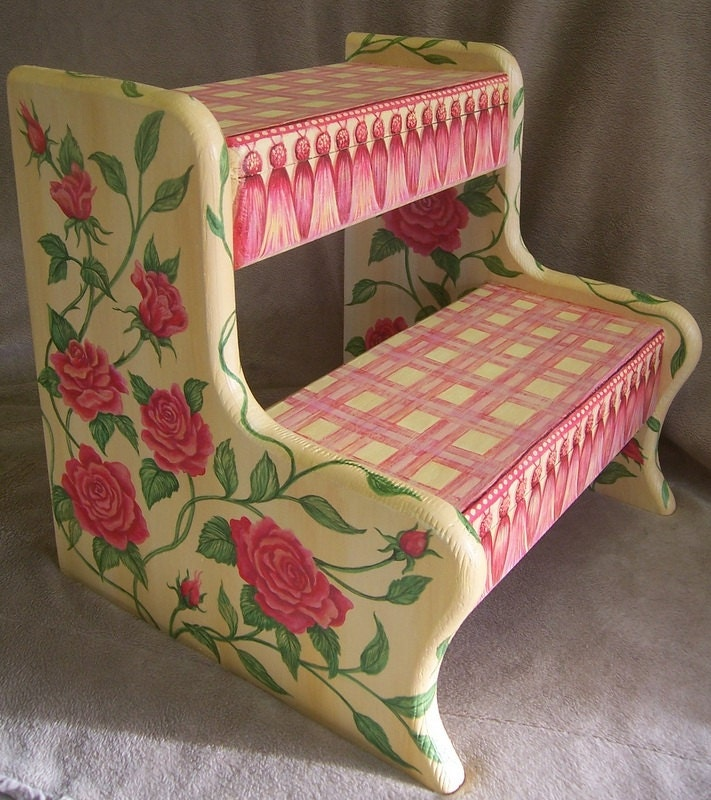 Children S Step Stool Hand Painted Furniture Vintage