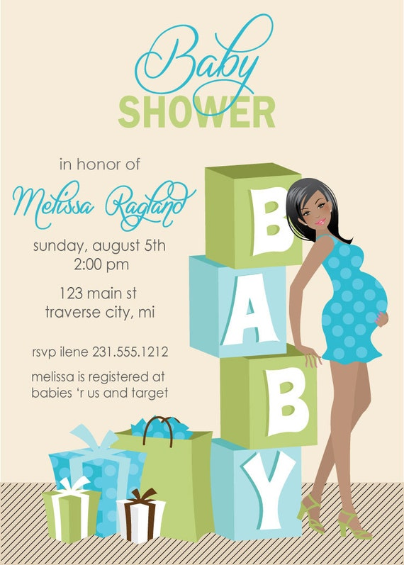 Modern Baby Shower Invitations with adorable invitation layout