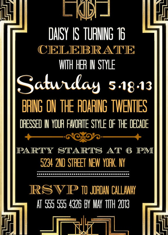 Custom Printable Great Gatsby Inspired Invitations
