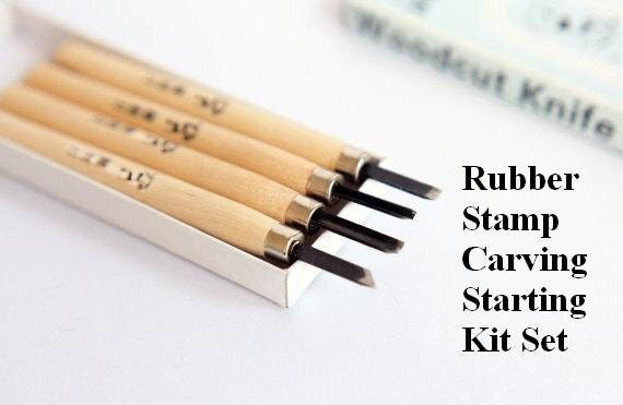 Items similar to rubber stamp carving kit set handmade
