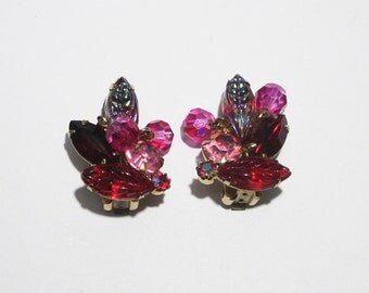 Earrings by Weiss // Red Rhinestone Earrings // 1950s // Red and Pink Vintage Earrings