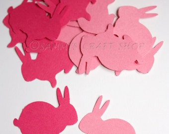 100 Light Pink and Dark Pink Bunny Confetti, Die Cut Bunnies, Easter Bunny Decor, Birthday Party, Spring, Baby Shower, Easter, Confetti