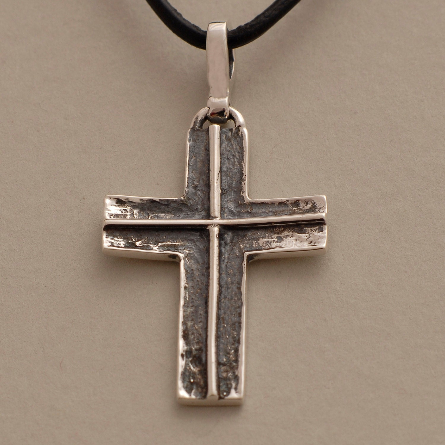 Mens Cross Necklace Silver Black Cross on Leather Cord or