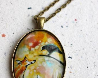 Love (Fox and Crow) Art Pendant - Wearable Art
