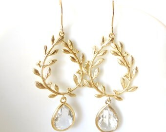 Gold Leaf Earrings Clear Crystal Earrings Laurel Wreath Greek Goddess Grecian Jewelry Gold Wedding Gold Bridesmaid Earrings Bridal Jewelry
