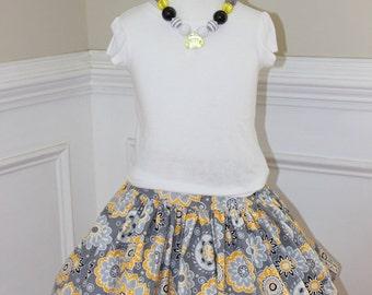 girls skirt flower skirt gray yellow skirt toddler skirt spring summer fall winter skirt set girls outfit girls clothing birthday matching