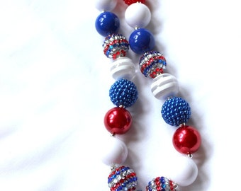July 4th girls chunky bubblegum bead necklace chunky bead necklace for girls bubble gum bead red white blue patriotic necklace