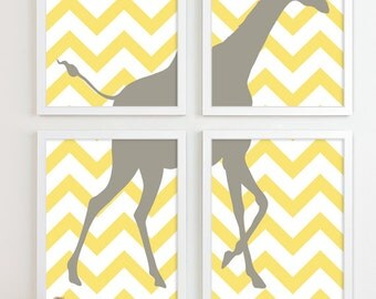 Zig Zag Giraffe Chevron Nursery Art Print, Animal Kids Room Decor, Jungle Baby Nursery Wall Art, Kids Art For Nursery Decor