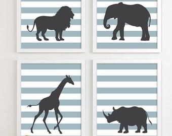 Childrens Art for Kids Wall Art, Jungle Baby Nursery Decor, Safari Animal Nursery Art, Elephant Giraffe Zoo Nursery Wall Art