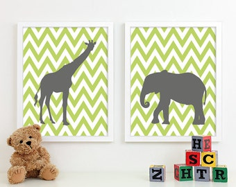 Modern Nursery Art Zoo Nursery Print, Safari Animal Kids Wall Art for Children Room Playroom, Jungle Baby Nursery Decor