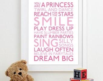 Baby Girl Nursery Art for Girls Room Decor, Baby Girl Gift for Girl, Girls Wall Art Girl Nursery Decor Playroom Rules Subway Girls Art