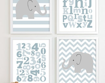 Baby Boy Nursery Art Chevron Elephant Nursery Prints, Kids Wall Art Baby Boys Room, Boys Nursery ABC Alphabet Nursery Art Print