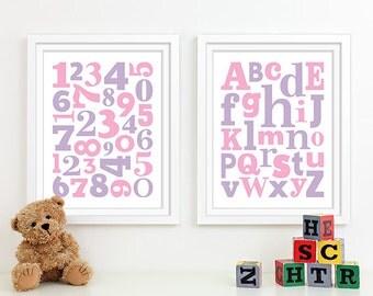 Baby Pink Girl Nursery Art Alphabet Art Nursery Prints, Kids Wall Art Baby Girls Room, Girls Nursery ABC Alphabet Nursery Decor Numbers Art