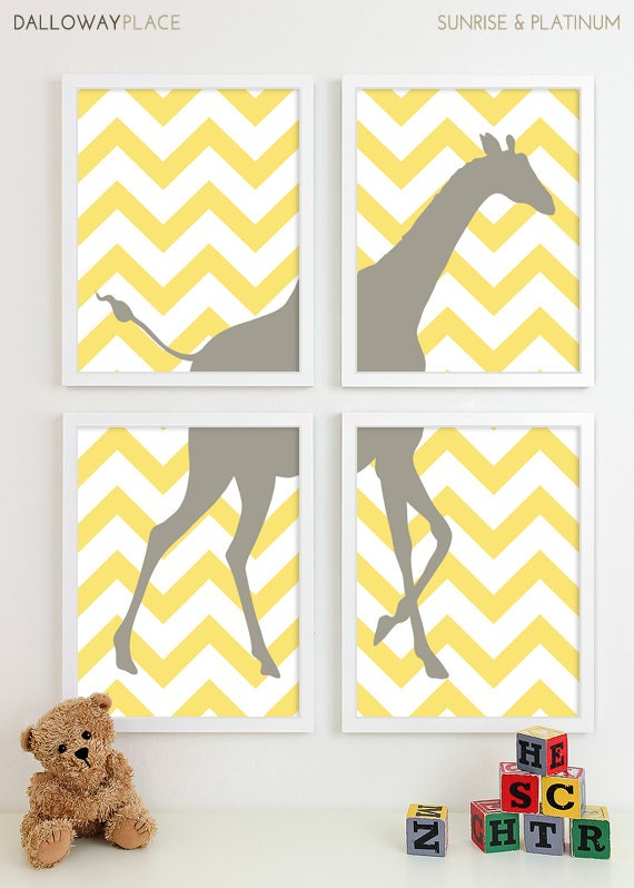 Items similar to zig zag giraffe chevron nursery art print for Room decor etsy
