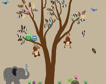 Fabric Tree Wall Decal with Monkeys REUSABLE Decal 960