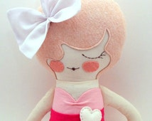 "Primrose Special Edition 18"" cloth doll, rag doll, customizable, pink with bow"