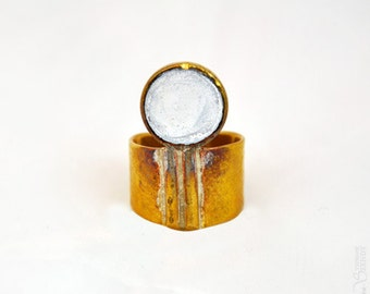 Troisième oeil - Bague ronde transparente dorée réglable