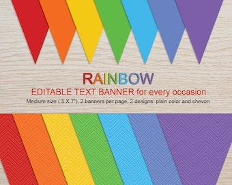 Instant download Editable Text Rainbow Banner for every occasion-Medium banner size