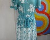 SALE - 80s Aqua Floral Polyester Dress / L / XL