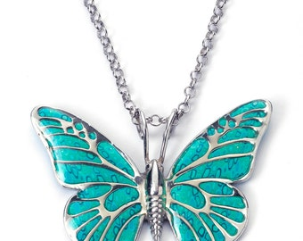 """Butterfly Necklace – 925 Sterling Silver Handmade Turquoise Polymer Clay Pendant - 16.5"""" Chain"""