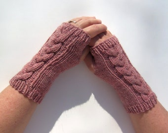 Fingerless Gloves Cabled Hand Knit Merino Wool Fingerless Mittens Arm Wrist Warmers Pink Heather