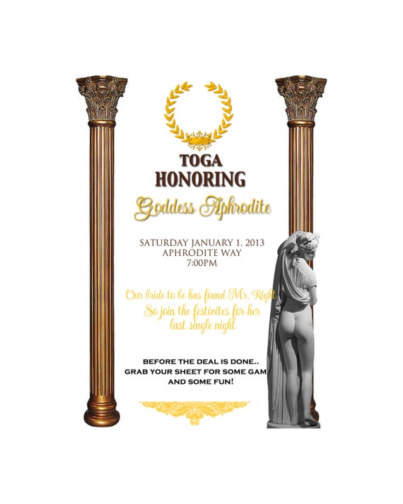 Items similar to Toga party invitation on Etsy – Toga Party Invitations